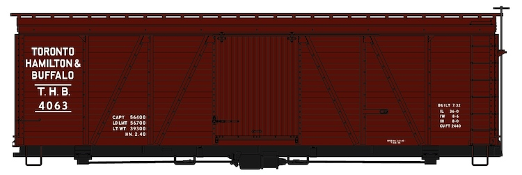 TH&B 36' Fowler Wood Boxcar #4063 (Boxcar Red) Kit