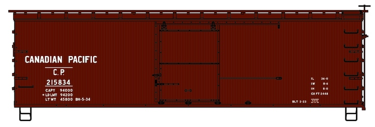 36' Double Sheath Wood Boxcar Kit Canadian Pacific